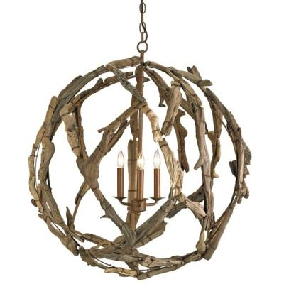 Currey and Company 9078 Driftwood - Three Light Orb Chandelier