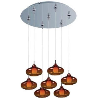 ET2 Lighting E93748-141PC Graduating 7-Light RapidJack Pendant and Canopy