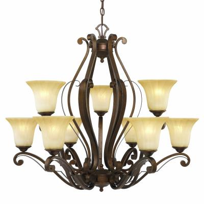 Golden Lighting 1089-9 RSB Pemberly Court - Nine Light 2-Tier Chandelier