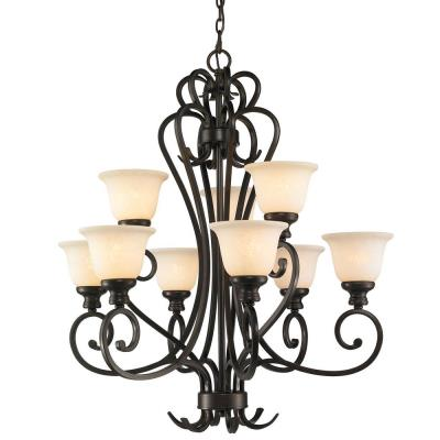 Golden Lighting 8063-9 BUS 2 Tier Chandelier