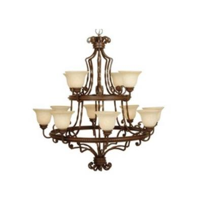 Jeremiah Lighting 8144AG12 Riata - Twelve Light 2-Tier Chandelier