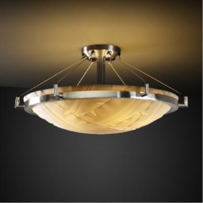 Justice Design PNA-9682 Porcelina - Six Light Round Semi-Flush Mount with Ring