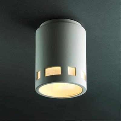 Justice Design 6107W Prairie Window Flush-Mount Cylinder Outdoor