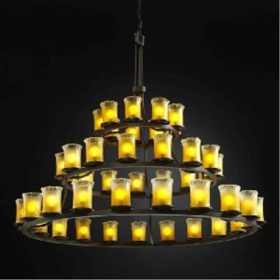 Justice Design WGL-8714 Dakota 45 Light 3-Tier Ring Chandelier