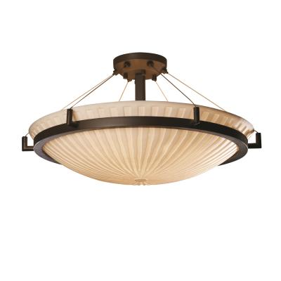 Justice Design PNA-9687 Porcelina - Eight Light Round Semi-Flush Mount with Ring