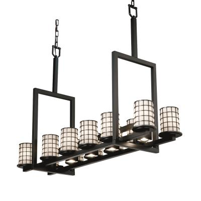 Justice Design WGL-8719 Dakota 12-Up & 5-Downlight Bridge Chandelier (Tall)