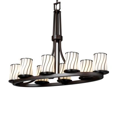 Justice Design WGL-8751 Dakota Eight Light Oval Ring Chandelier