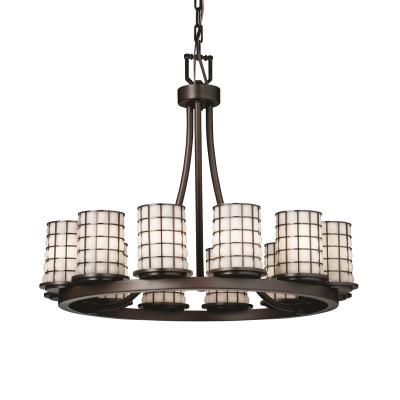 Justice Design WGL-8768 Dakota 1Two Light Ring Chandelier (Short)
