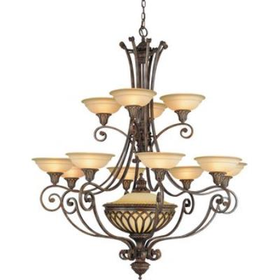 Feiss F1918/12+1BRB 13 Light Two- tier Chandelier w/shades