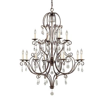 Feiss F1938/8+4MBZ 12 Light Two- tier Chandelier w/crystals
