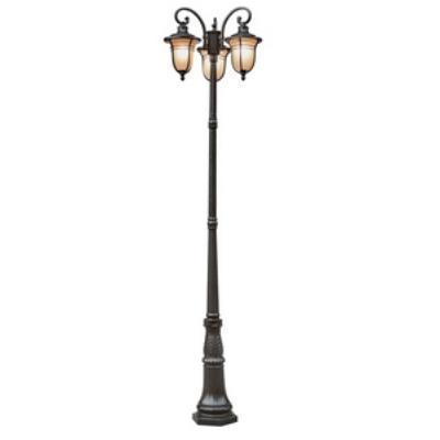 Trans Globe Lighting 5707 Amber Drop Three Light Outdoor Post Lantern