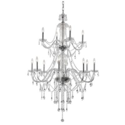 Trans Globe Lighting HM-12 PC Crystal Fountain - Twelve Light 2-Tier Chandelier