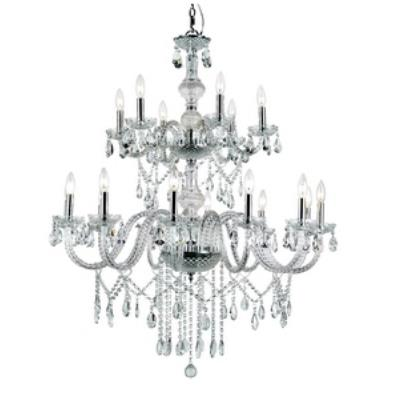 Trans Globe Lighting HU-18 PC HU - Eighteen Light 2-Tier Chandelier