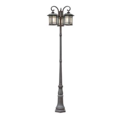 Trans Globe Lighting PL-5827 Corner Window - Three Light Outdoor Post Lantern