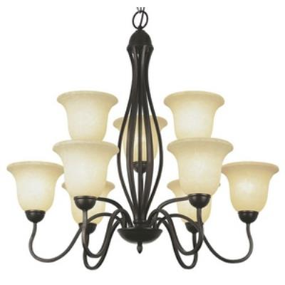 Trans Globe Lighting PL-8169 BN Farmhouse - Nine Light 2-Tier Chandelier