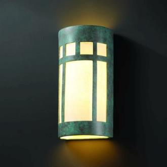 Justice Design 7357 Really Big Prairie Window Open Top and Bottom Sconce