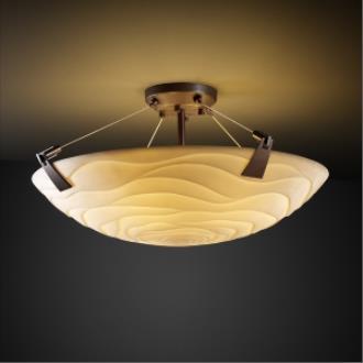 Justice Design PNA-9631 Porcelina - Three Light Semi-Flush Mount with Tapered Clip